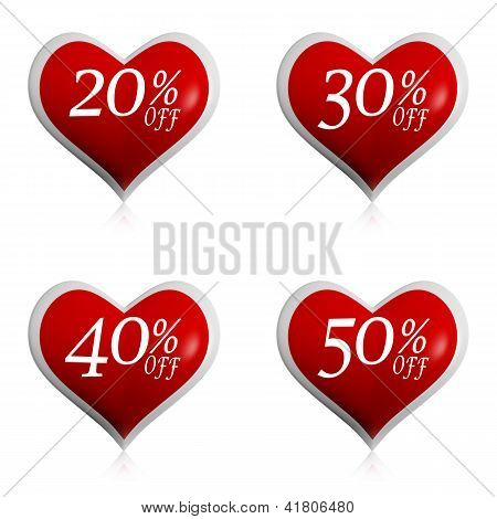 Different Percentages Off Discount In Red Hearts Buttons
