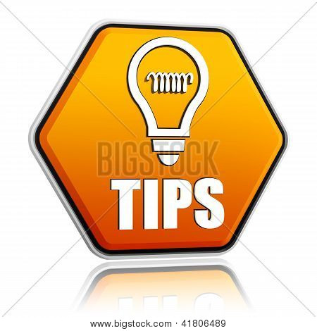Tips And Bulb Symbol In Orange Hexagon Banner