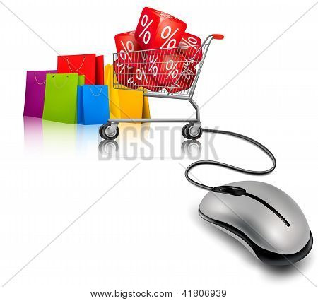 Background With Shopping Color Bags And Shopping Carts With Sale. Vector Illustration.