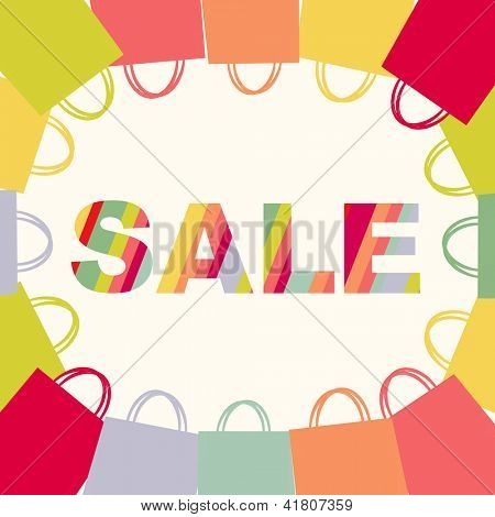 Bright Sale Poster With Bags, Isolated On White Background