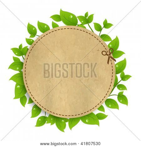Announcement Coupon With Leaves Isolated On White Background