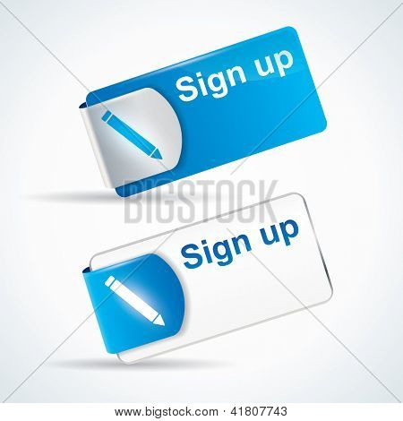 Sign up button or icon