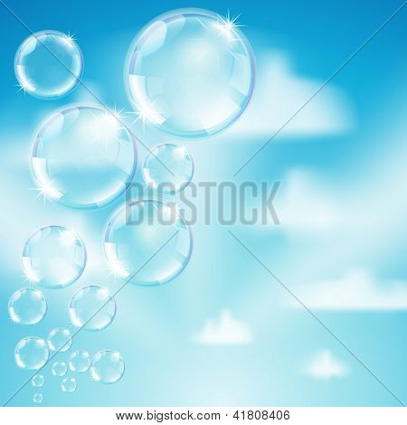 Soap Bubbles On Heaven Background