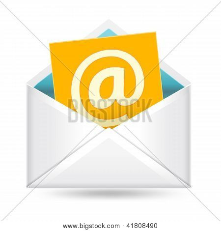 Email Sign And Envelope On White