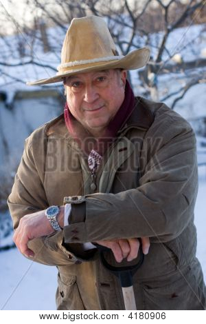 Winter Portrait Of An Elderly Minnesota Man