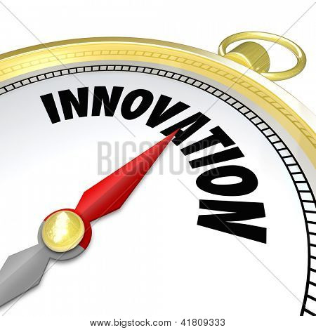 The word Innovation on a gold compass symbolizing new changes, progress, future advancement and advanced technology