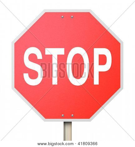 A red octogon shapped stop sign isolated on white background