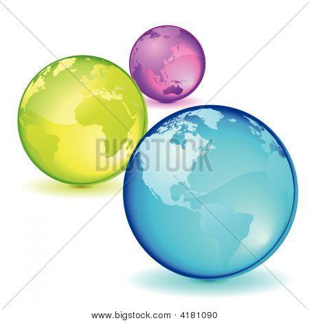 drei beleuchteten Planeten