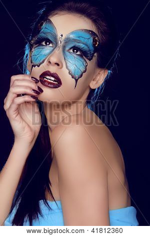 Fashion Woman Portrait. Butterfly Makeup,  Face Art Make Up