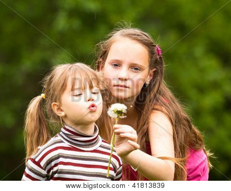 Cute 5 year old and 11 year old (looks into the camera) girls blowing dandelion seeds away.