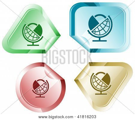 Globe and lock. Stickers. Raster illustration. Vector version is in my portfolio.