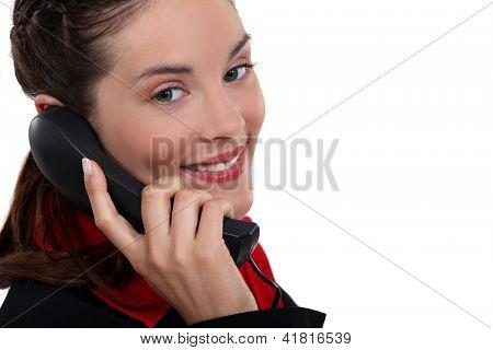 Businesswoman making telephone call