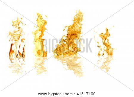 orange flames isolated on white background