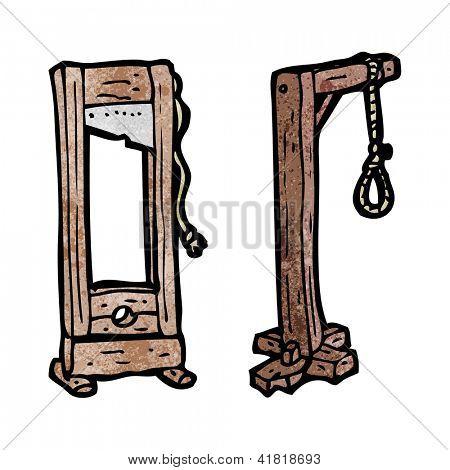 cartoon guillotine and hangman's noose