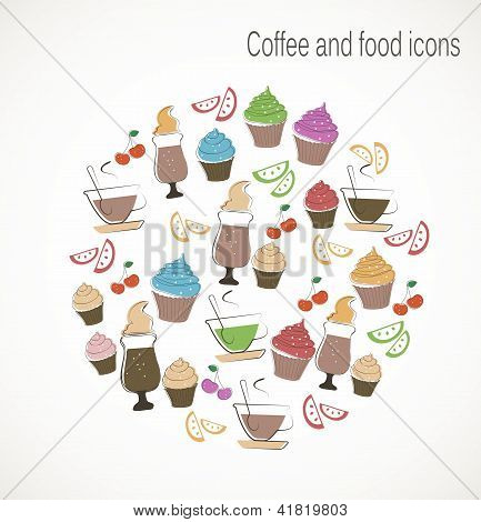 Coffee and sweet food icons