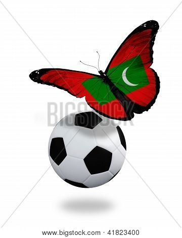 Concept - Butterfly With Maldivian Flag Flying Near The Ball, Like Football Team Playing