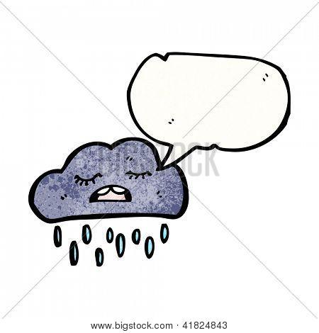 cartoon raincloud with speech bubble