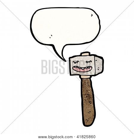 cartoon mallet with speech bubble