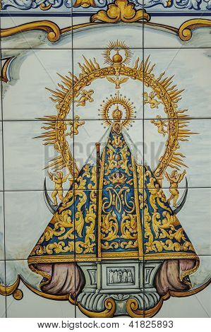 Ceramics of Talavera, tiles, Virgin Mary image