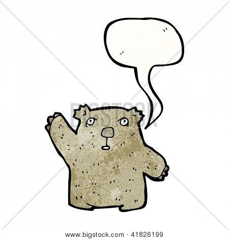 cartoon waving wombat
