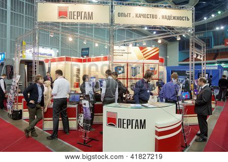 MOSCOW - FEB 28: Stand of JSC Pergam Engineering at ExpoCoating 2012, Feb 28, Moscow Russia. Company specializes in supplying full range of equipment and services for technical diagnostics in industry
