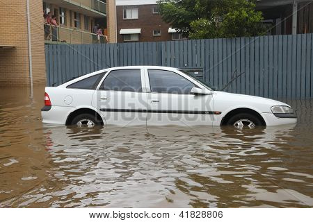 Brisbane, Australia - January 28 : Car Submerged From Ex Tropical Cyclone Oswald On January 28, 2013
