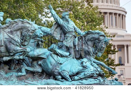 Calvary Charge Us Grant Statue Civil War Memorial Capitol Hill Washington Dc