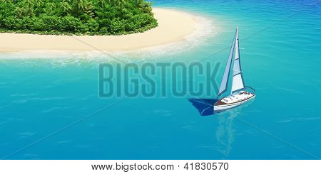 Yacht near tropical sand beach with palms top view. Concept for rest, holidays, resort, spa design or background.