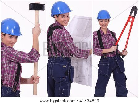 Collage of a tradeswoman at work