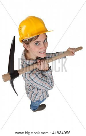 High-angle shot of a tradeswoman