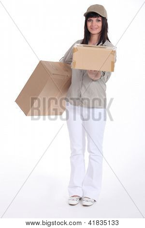 Young deliverer of packages