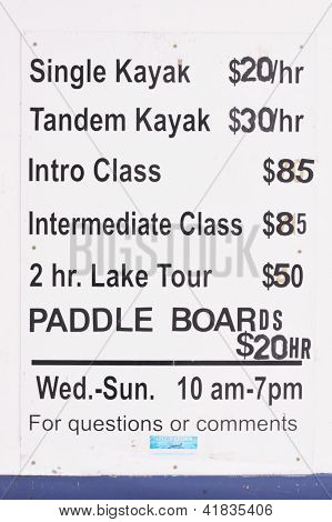 Kayak Sign - Rates