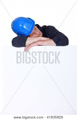 Builder taking a nap