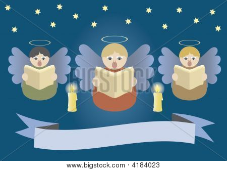 Angels Singing On Christmas Stardust Sky
