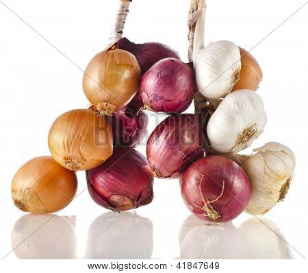 bunch bundle of onion and garlic clove isolated on white background