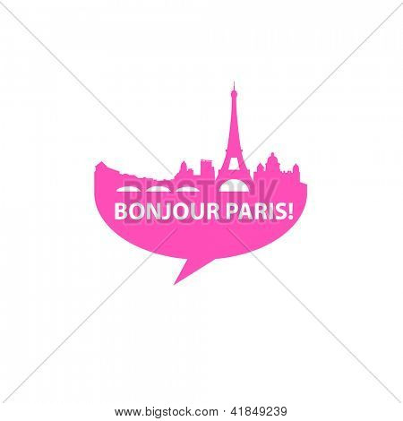Speech-bubble - Bonjour Paris! vector