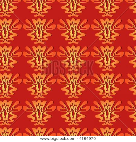 Abstract Plant Seamless Pattern on orange background.