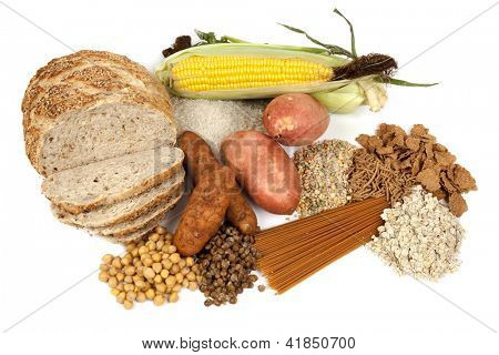 Food sources of complex carbohydrates, isolated on white.