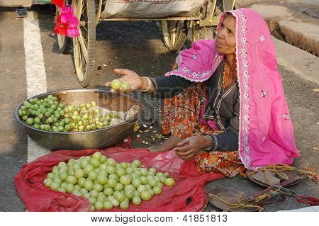 Old rajasthani woman selling fruits at the market during annual camel fair holiday in Pushkar,India