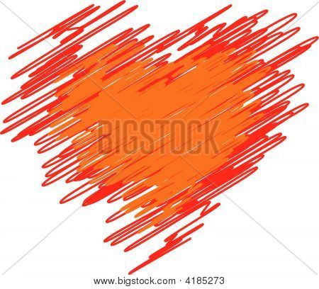 Red Heart From Lines