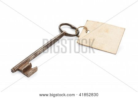 Rusty Key With Message Label