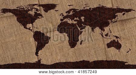 Burlap World Map