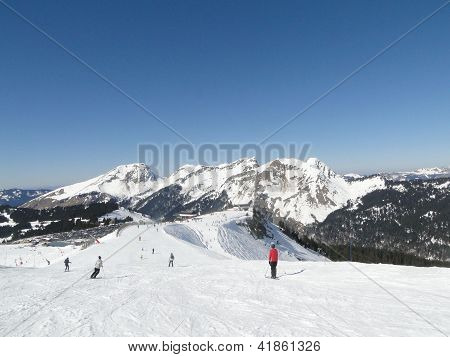 High Alpine Ski Area In The French Alps