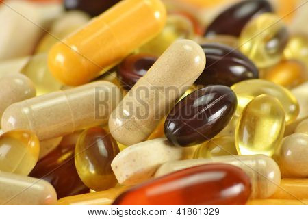 Composition With Dietary Supplement Capsules. Variety Of Drug Pi