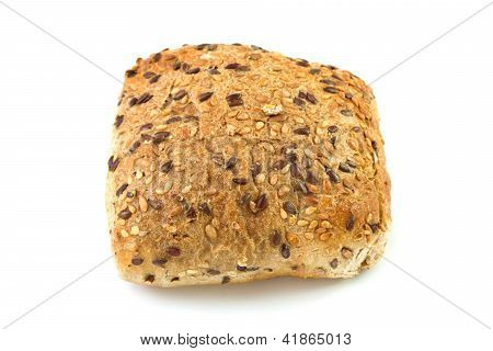 Bread With Seeds On The White Background