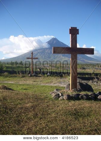 Two Crosses At Mayon Volcano