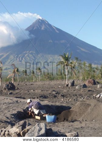 A Quarry Worker And Mayon (Perfect Cone)