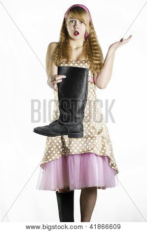 Girl with canvas boots