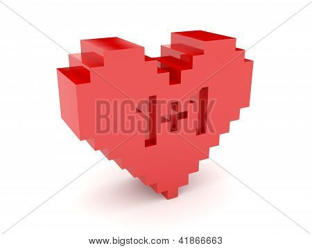 3D heart. 1+1 cutout inside. Concept illustration.