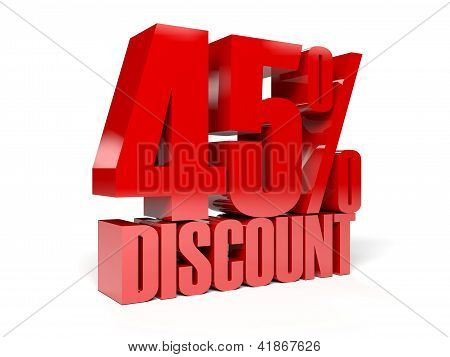 45 percent discount.Concept 3D illustration.